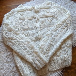 Vintage hand-knit bubble cardigan sweater